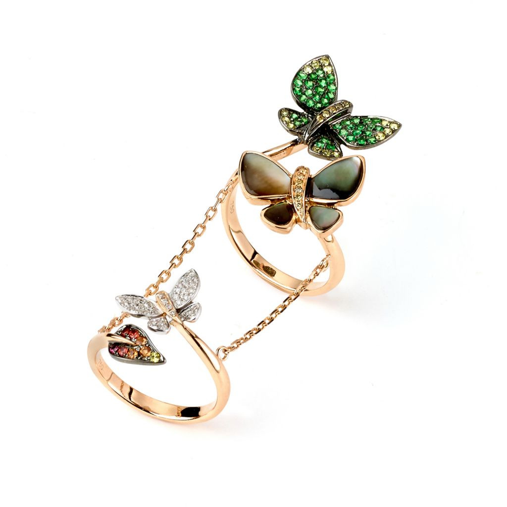 142-657 - SoHo Boutique 18K Rose Gold 1.78ctw Multi Gem & Diamond Butterfly Double Knuckle Ring - Size 7