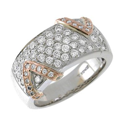 "142-662 - Sonia Bitton Galerie de Bijoux 14K Two-tone Gold 0.96ctw Diamond ""V"" Band Ring"