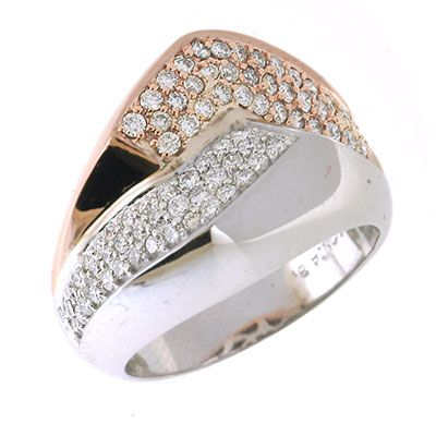 142-663 - Sonia Bitton Galerie de Bijoux 14K Two-tone Gold 0.80ctw Diamond Angle Ring