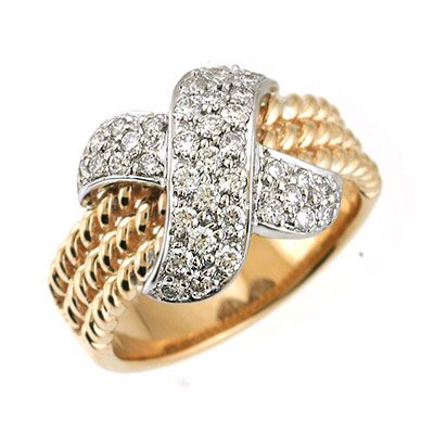 "142-664 - Sonia Bitton Galerie de Bijoux 14K Gold 0.50ctw Diamond ""X"" Ring"