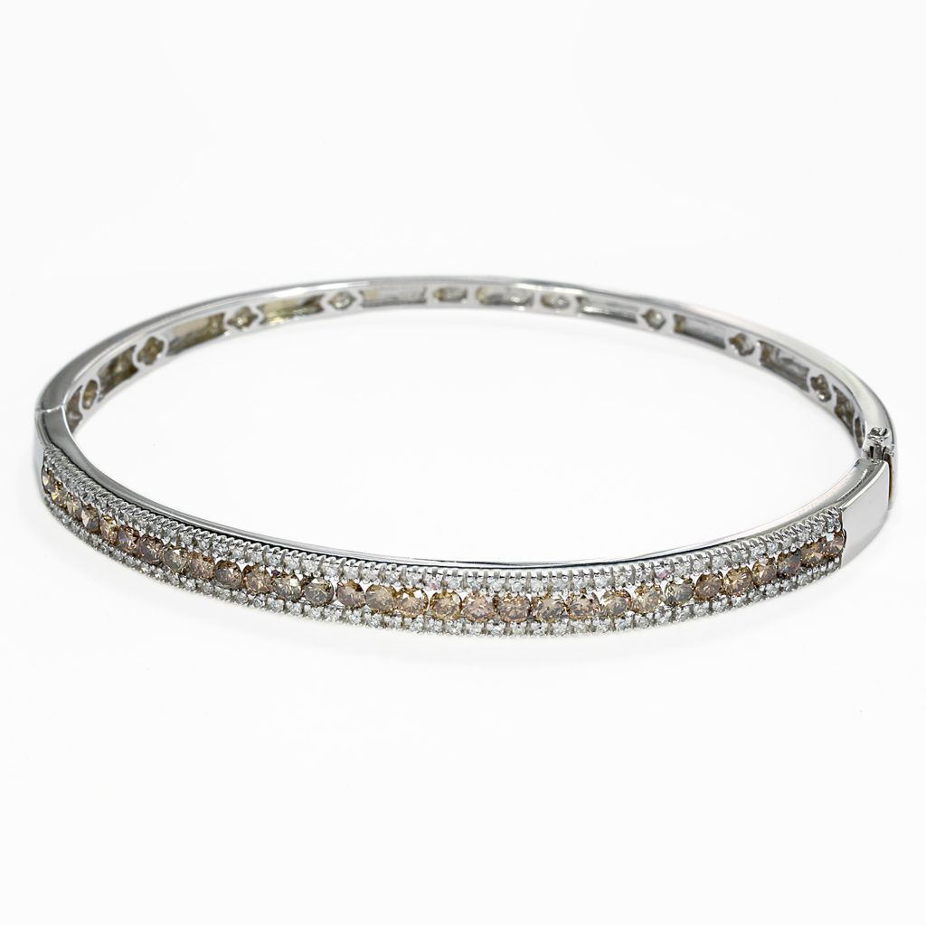 142-667 - Effy 14K White Gold 2.18ctw White & Mocha Diamond Bangle Bracelet