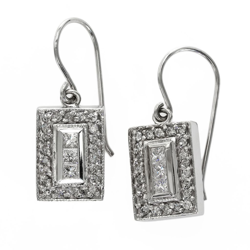 142-668 - Effy 14K White Gold 0.57ctw Diamond Rectangle Drop Earrings