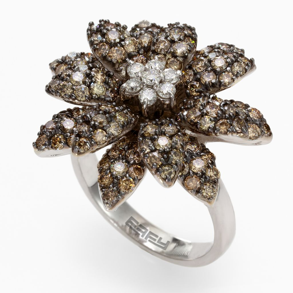 142-670 - Effy 14K White Gold 2.56ctw White & Champagne Diamond Flower Ring - Size 7