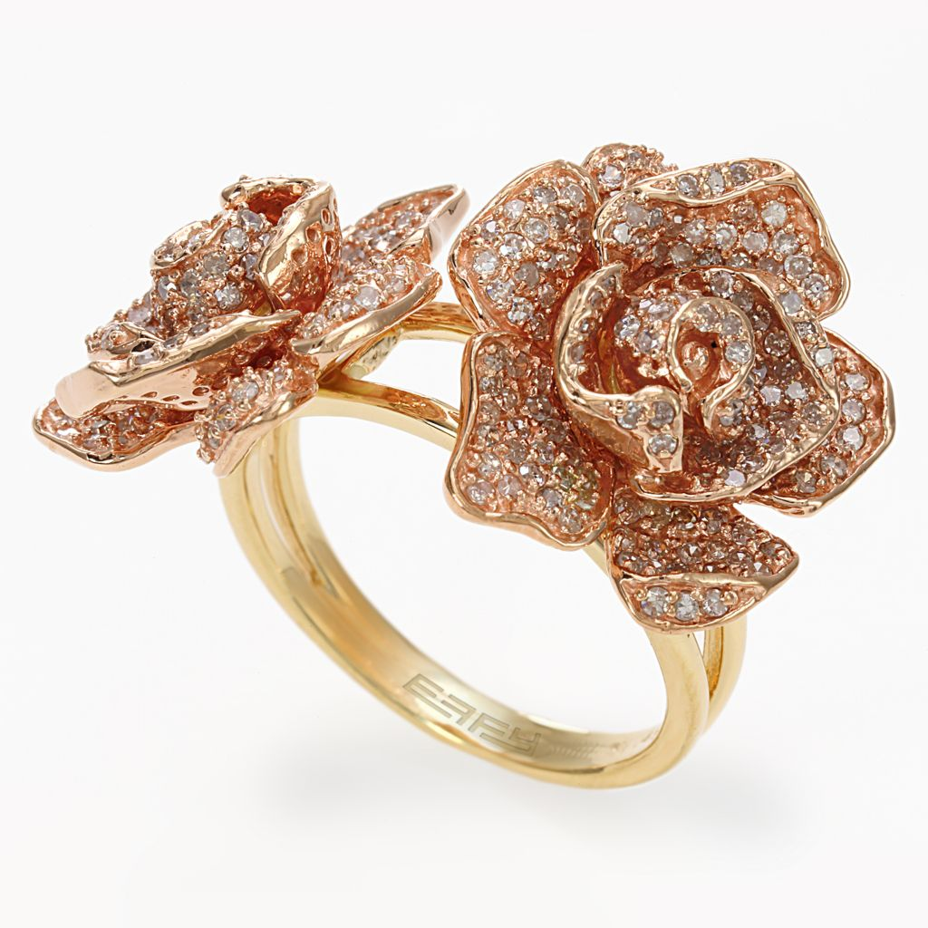 142-672 - Effy 14K Two-tone Gold 1.29ctw Diamond Flower Ring - Size 7