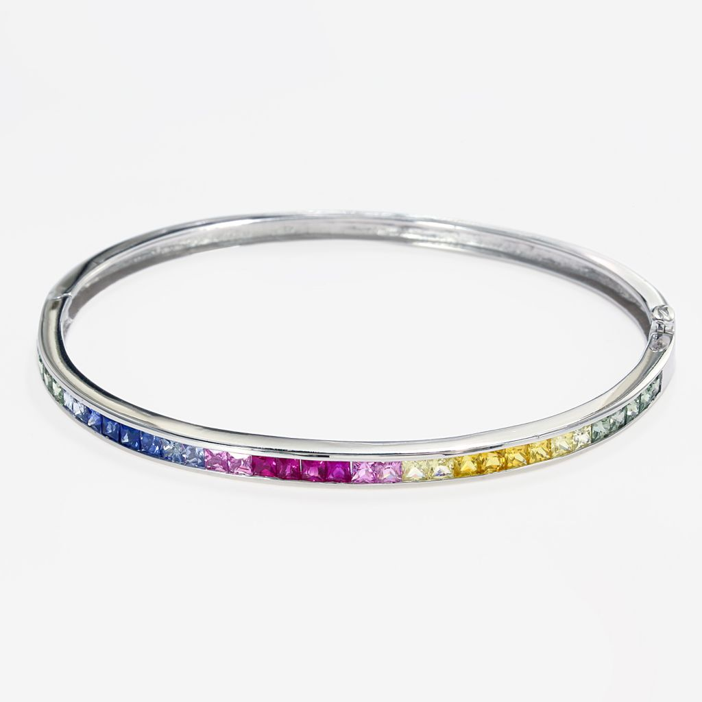 "142-675 - Effy 14K White Gold 7.5"" 3.85ctw Multi Colored Sapphire Bangle Bracelet"