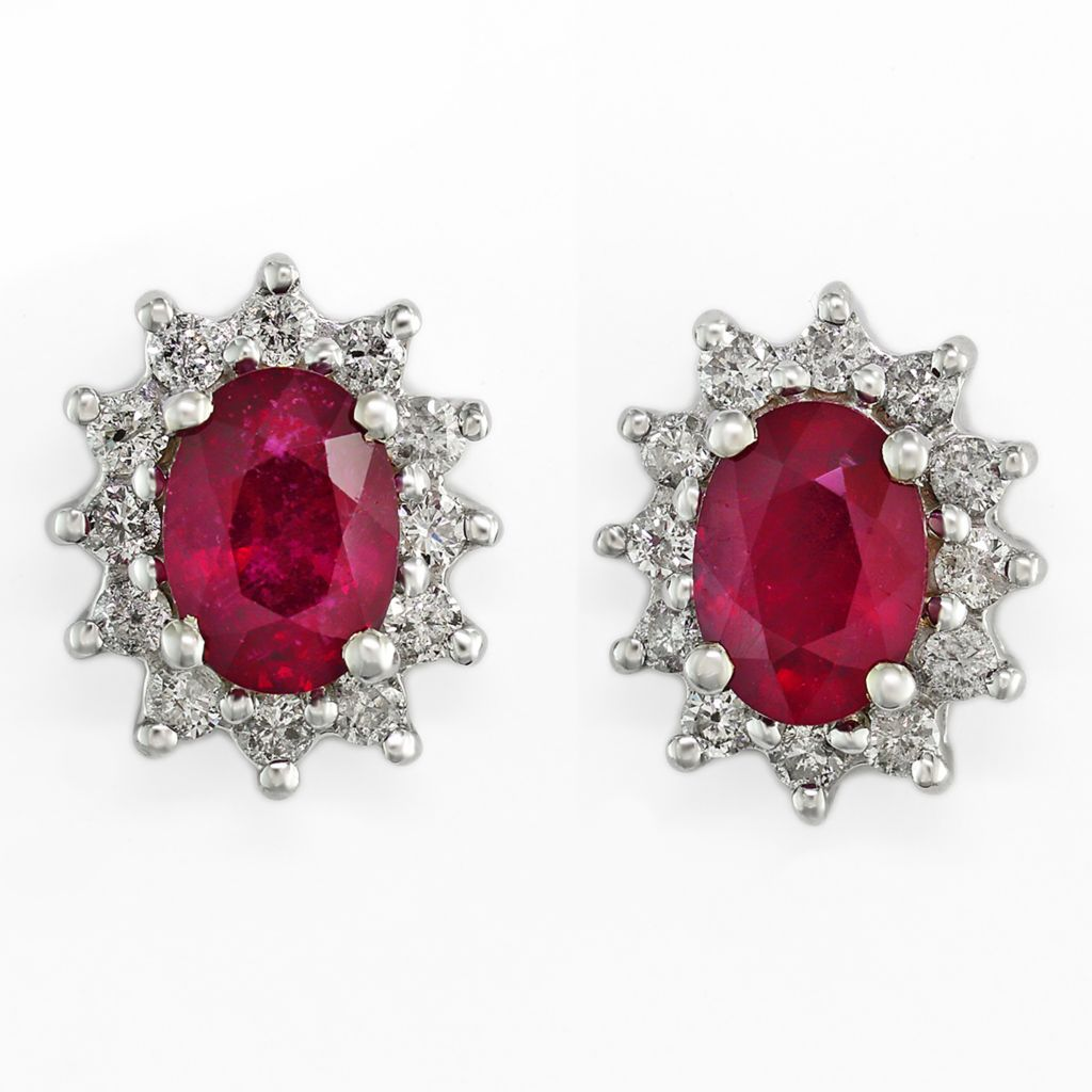 142-676 - Effy 14K White Gold 2.68ctw Diamond & Innova™ Ruby Halo Stud Earrings