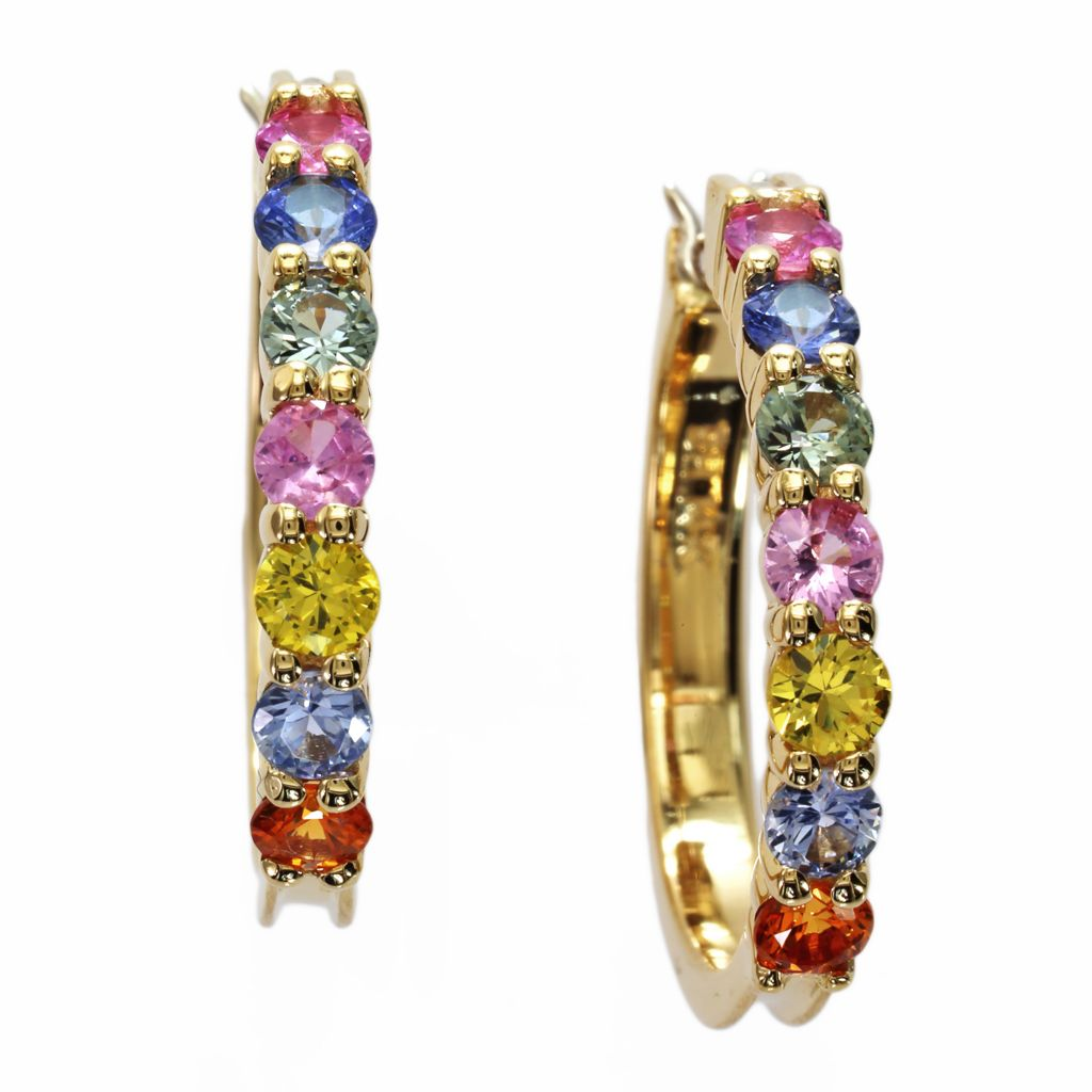 142-677 - Effy 14K Gold 1.96ctw Multi Colored Sapphire Hoop Earrings
