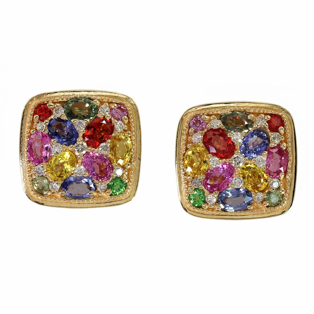 142-678 - Effy 14K Gold 4.72ctw Diamond, Tsavorite & Multi Colored Sapphire Stud Earrings
