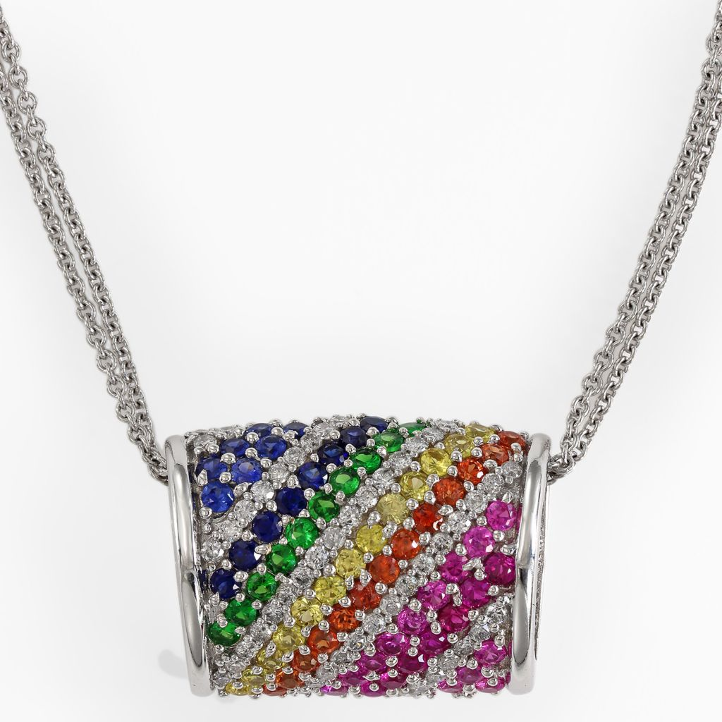 "142-679 - Effy 14K White Gold 2.29ctw Multi Gemstone Rainbow Pendant w/ 18"" Chain"