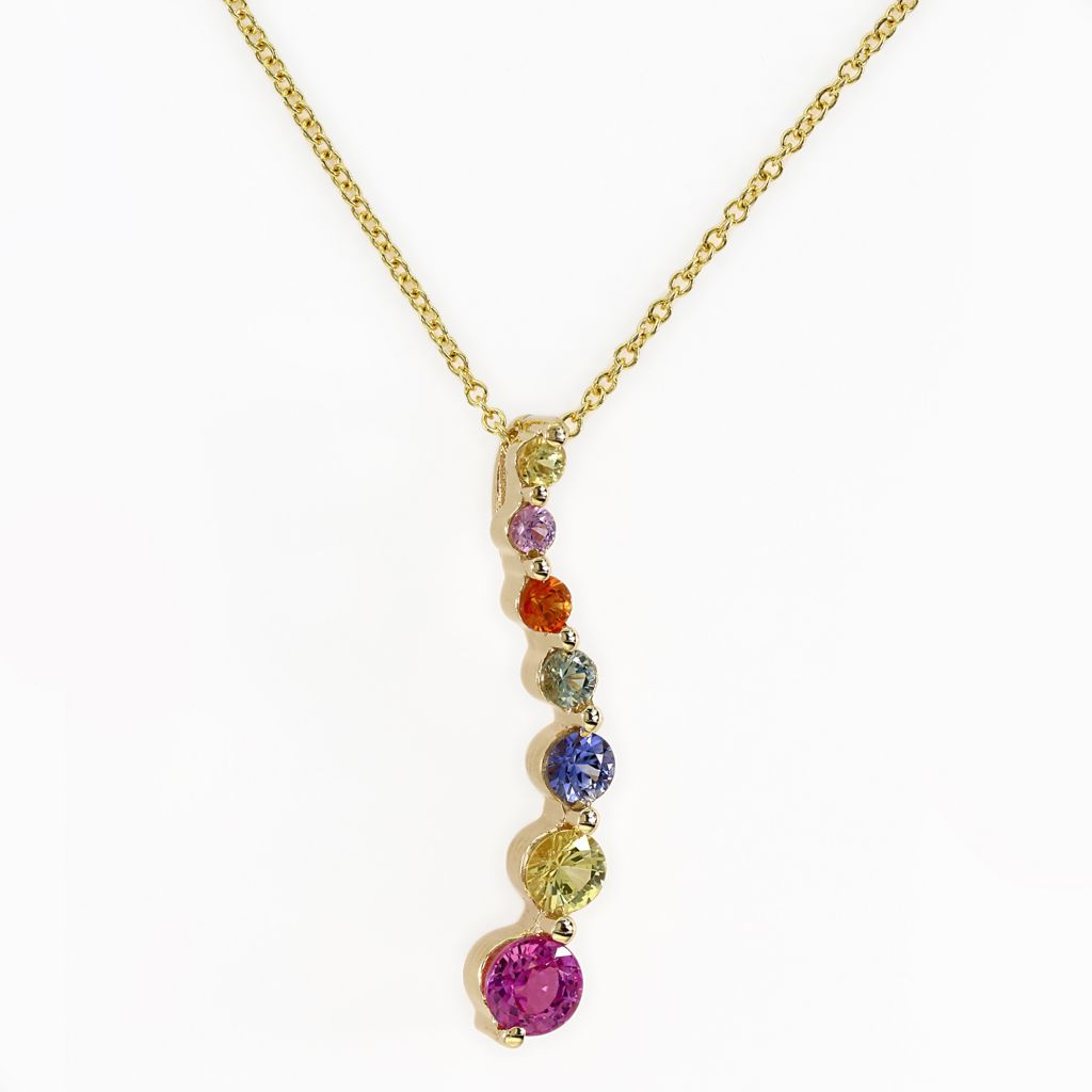 "142-680 - Effy 14K Gold 0.99ctw Multi Colored Sapphire Graduated Pendant w/ 18"" Chain"
