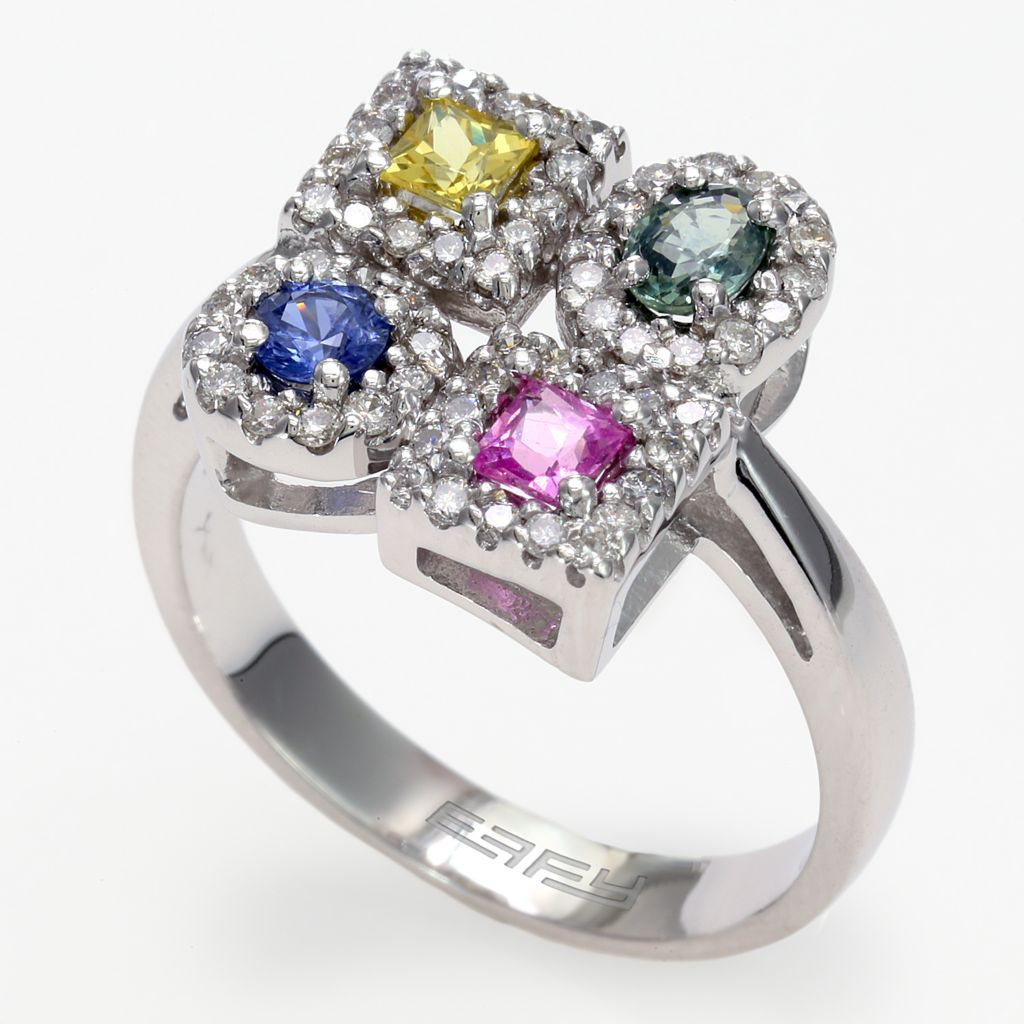 142-682 - Effy 14K White Gold 1.23ctw Diamond & Multi Color Sapphire Ring - Size 7