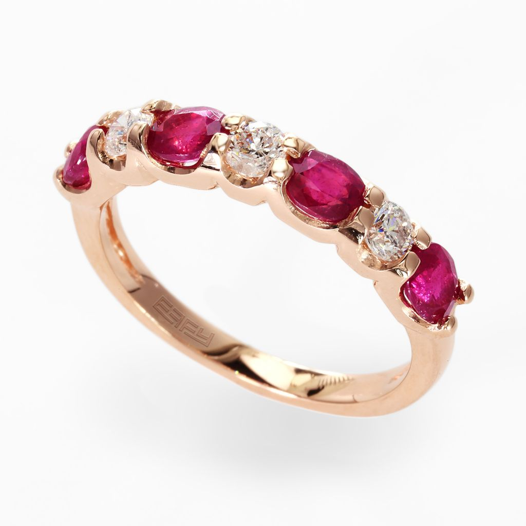 142-684 - Effy 14K Rose Gold 1.56ctw Diamond & Innova™ Ruby Ring - Size 7