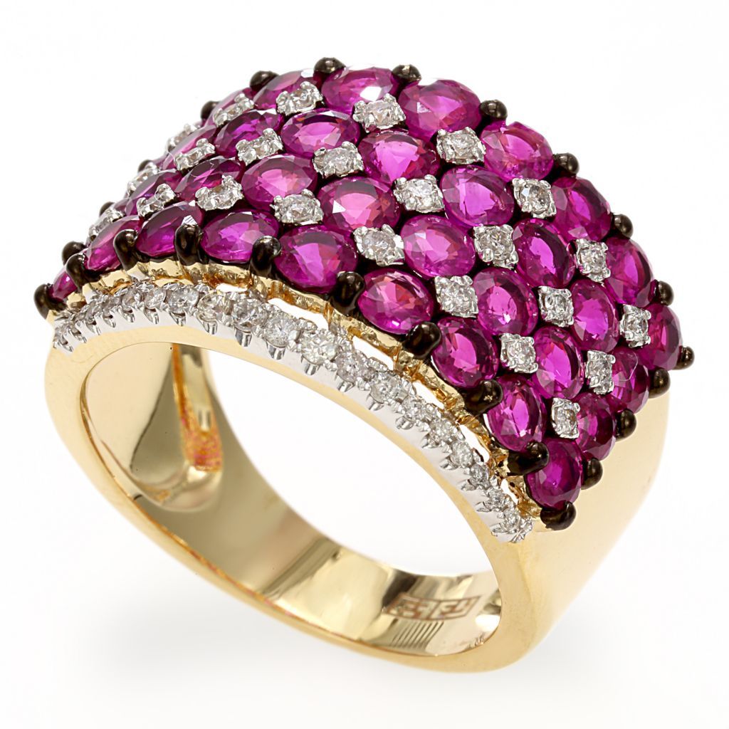 142-686 - Effy 14K Gold 4.68ctw Diamond & Ruby Wide Band Ring - Size 7