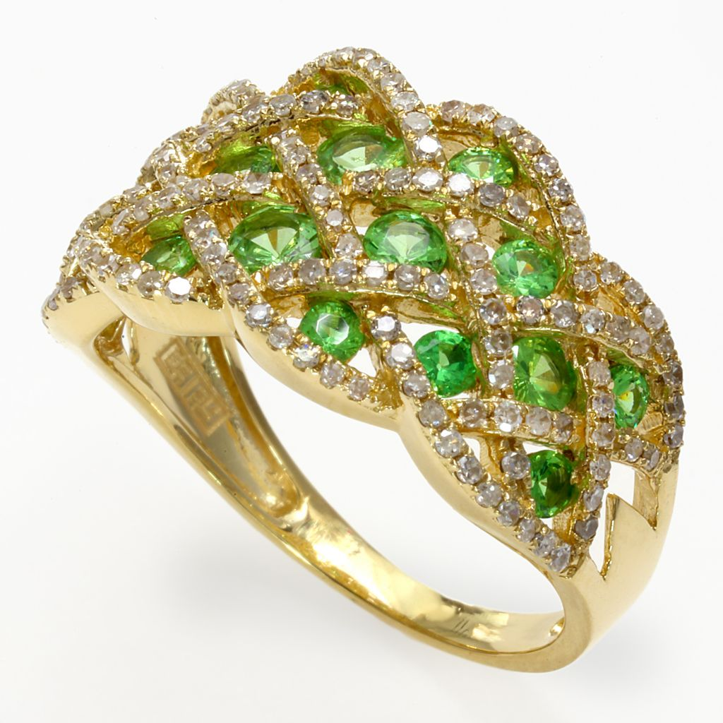 142-687 - Effy 14K Gold 1.76ctw Diamond & Tsavorite Basket Weave Ring - Size 7