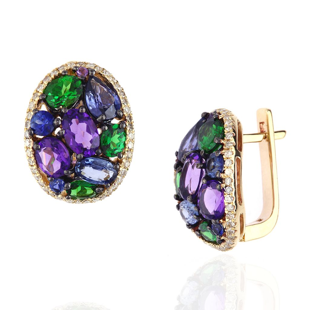 142-689 - Effy 14K Gold 5.67ctw Multi Gemstone Oval Earrings