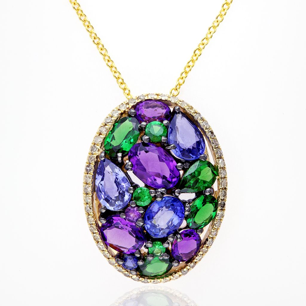 "142-690 - Effy 14K Gold 4.16ctw Multi Gemstone Oval Pendant w/ 18"" Chain"