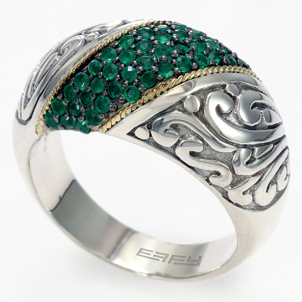 142-696 - Balissima by Effy Sterling Silver 0.55ctw Gemstone Scrollwork Band Ring - Size 7