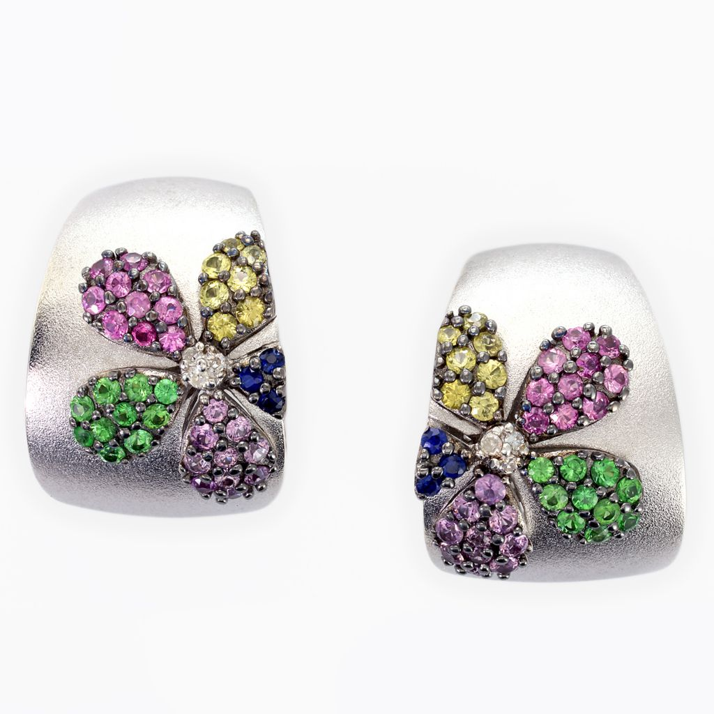 142-697 - Balissima by Effy Sterling Silver 1.77ctw Diamond, Sapphire & Tsavroite Flower Earrings