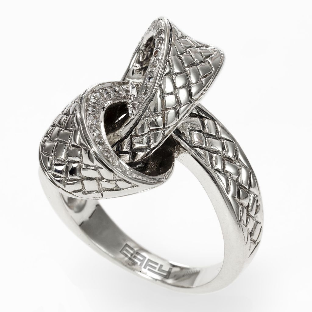142-699 - Balissima by Effy Sterling Silver 0.14ctw Diamond Textured Knot Ring - Size 7