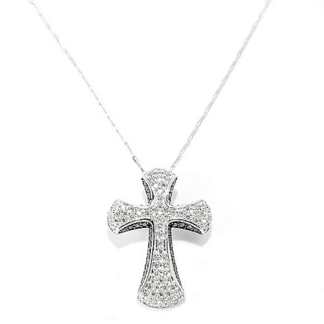 142-700 - Beverly Hills Elegance® 14K White Gold 1.02ctw Black & White Diamond Cross Pendant