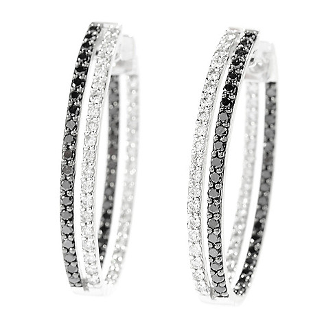 142-701 - Beverly Hills Elegance 14K White Gold 2.00ctw Black & White Diamond Oval Hoop Earrings