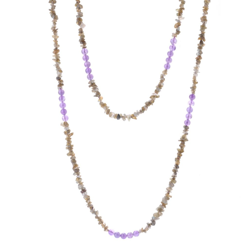 "142-707 - Gem Insider 80"" Gemstone & Labradorite Bead Necklace"