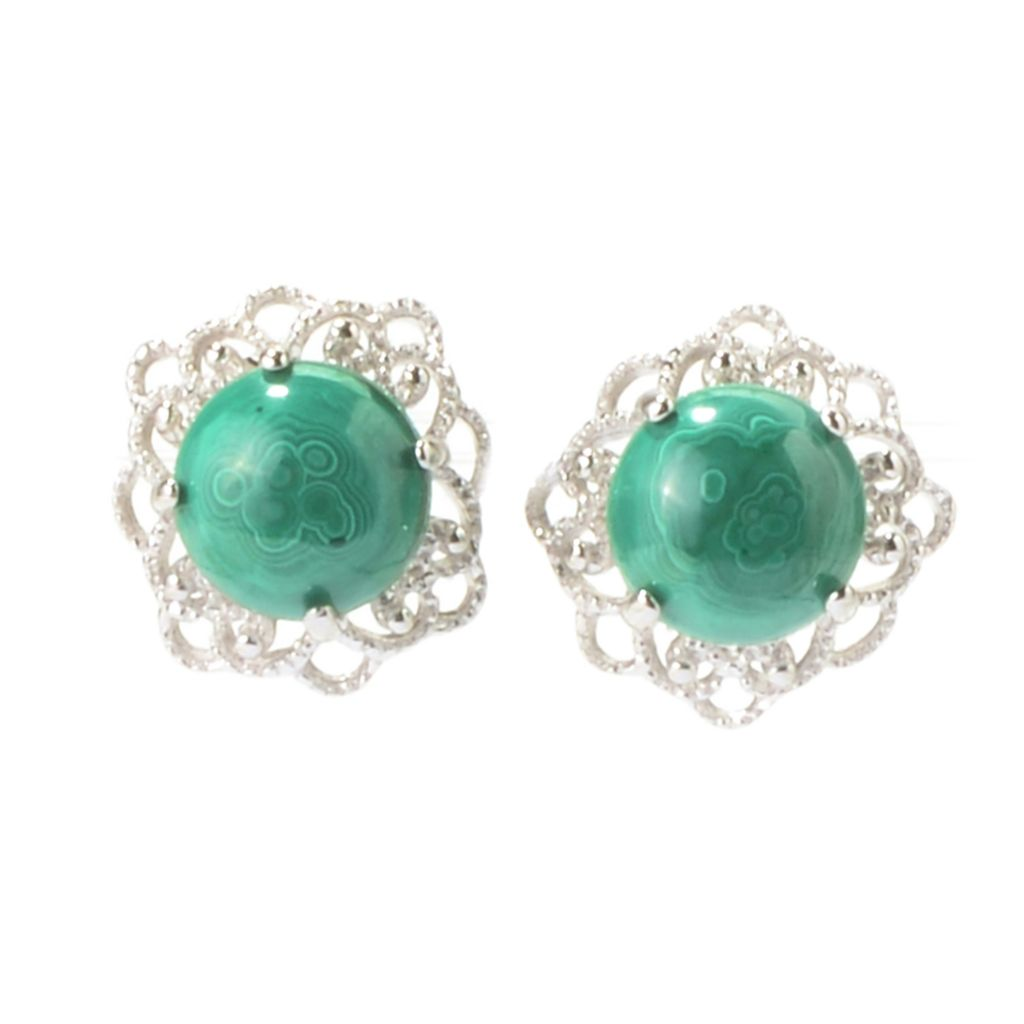 142-708 - Gem Insider Sterling Silver Round Gemstone Filigree Flower Stud Earrings