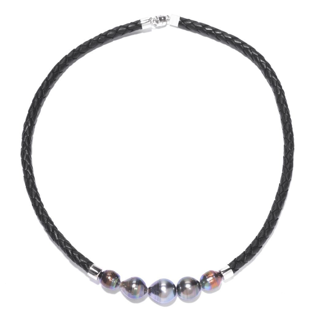 "142-729 - Sterling Silver 18"" 9-12mm Tahitian Cultured Pearl Braided Leather Necklace"