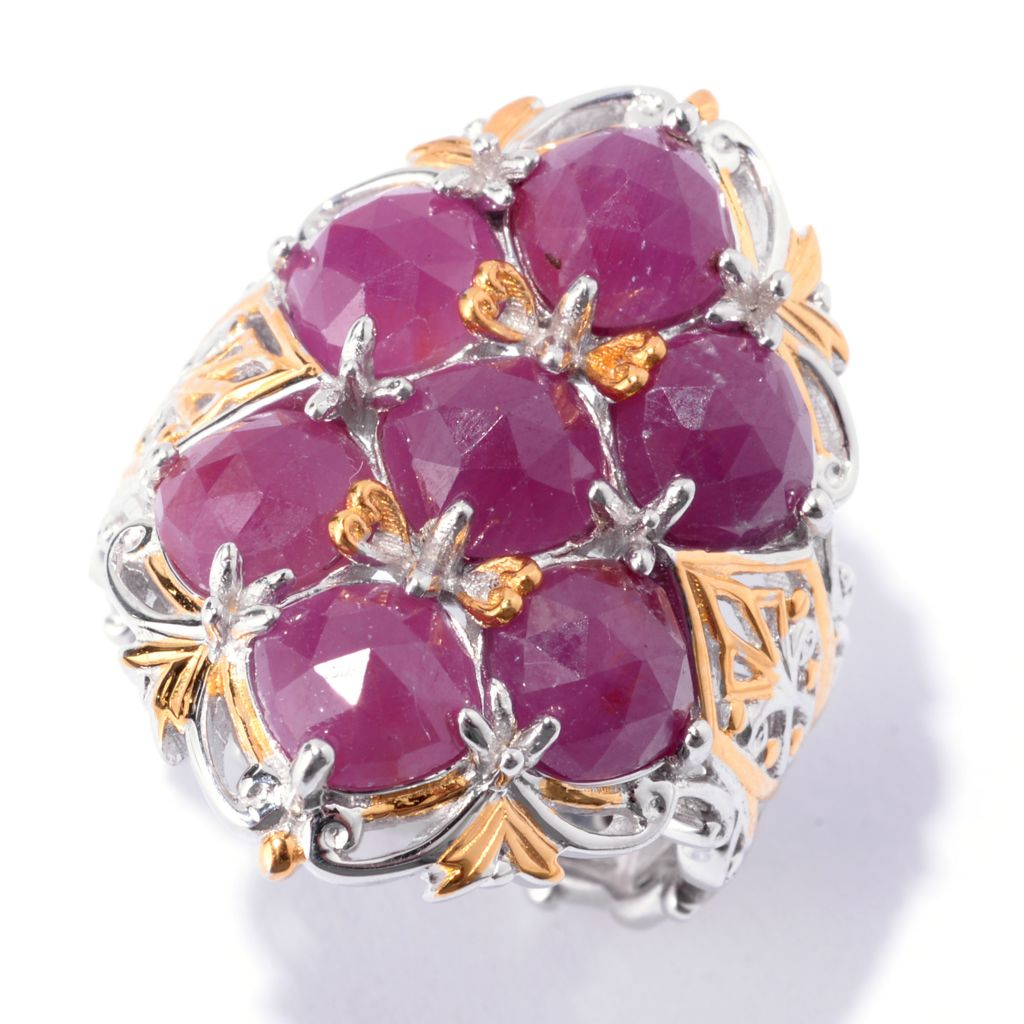 142-743 - Gems en Vogue 6mm Rose Cut Ruby Quilted Seven-Stone Ring