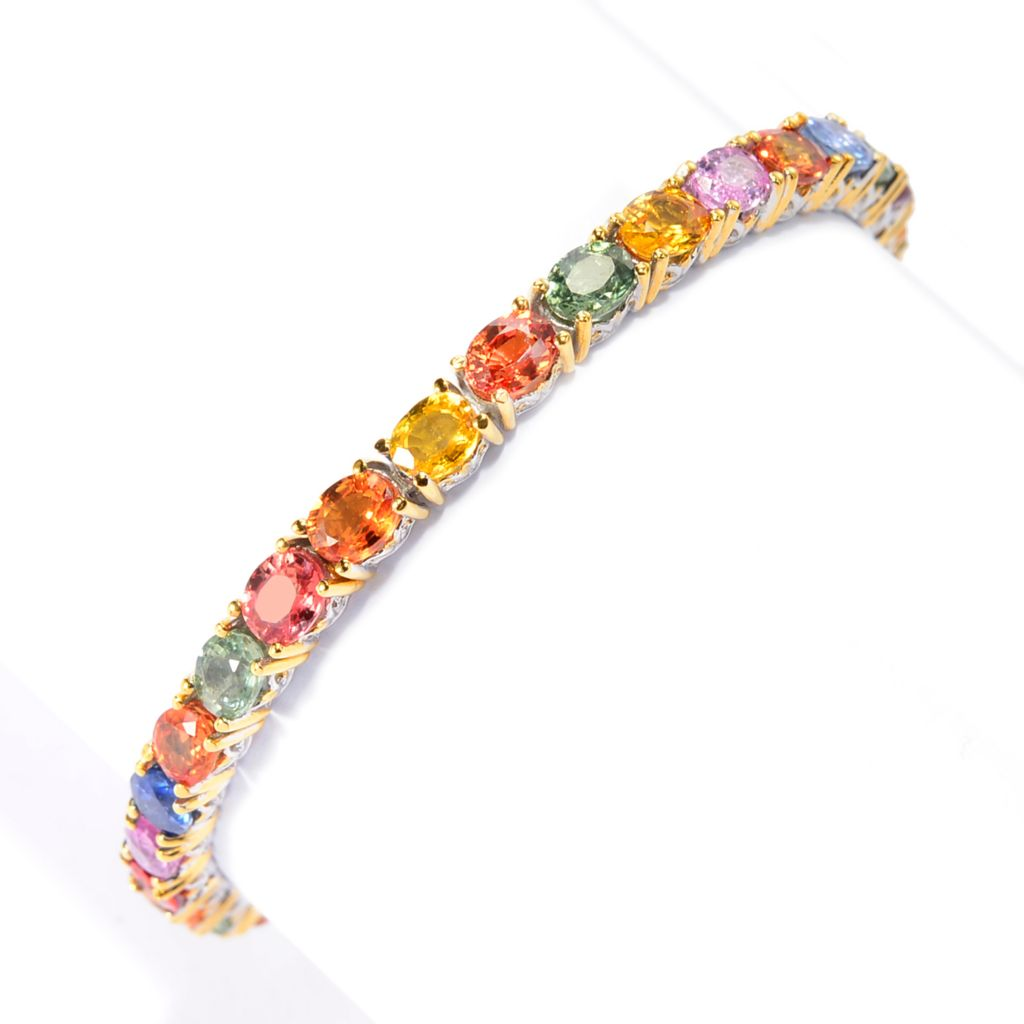 142-746 - Gems en Vogue 11.78ctw Oval Multi Color Sapphire Tennis Bracelet