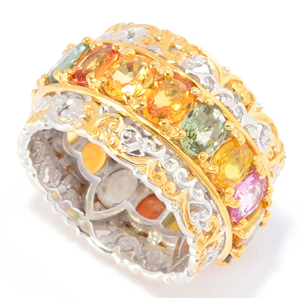 142-748 - Gems en Vogue 6.27ctw Multi Color Sapphire Eternity Band Ring