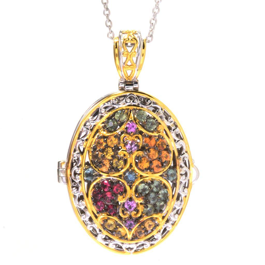 "142-749 - Gems en Vogue 3.12ctw Round Multi Sapphire Locket Pendant w/ 18"" Chain"
