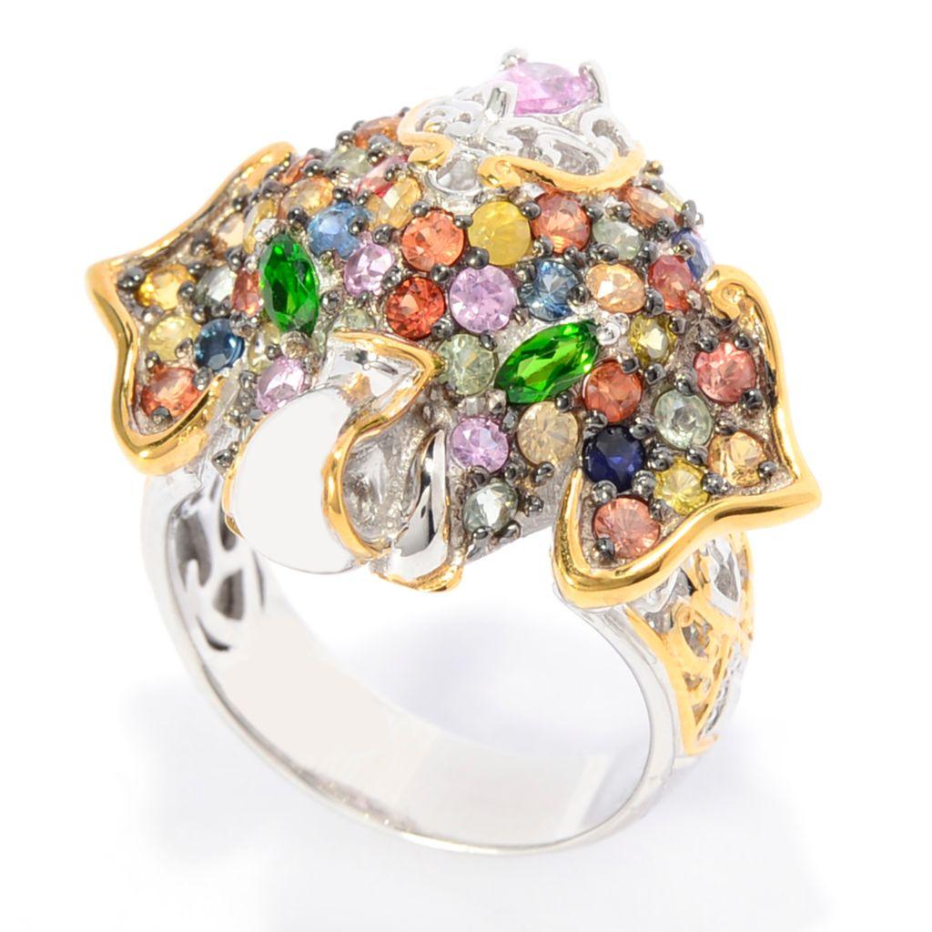 142-750 - Gems en Vogue 3.95ctw Multi Color Sapphire & Chrome Diopside Elephant Ring