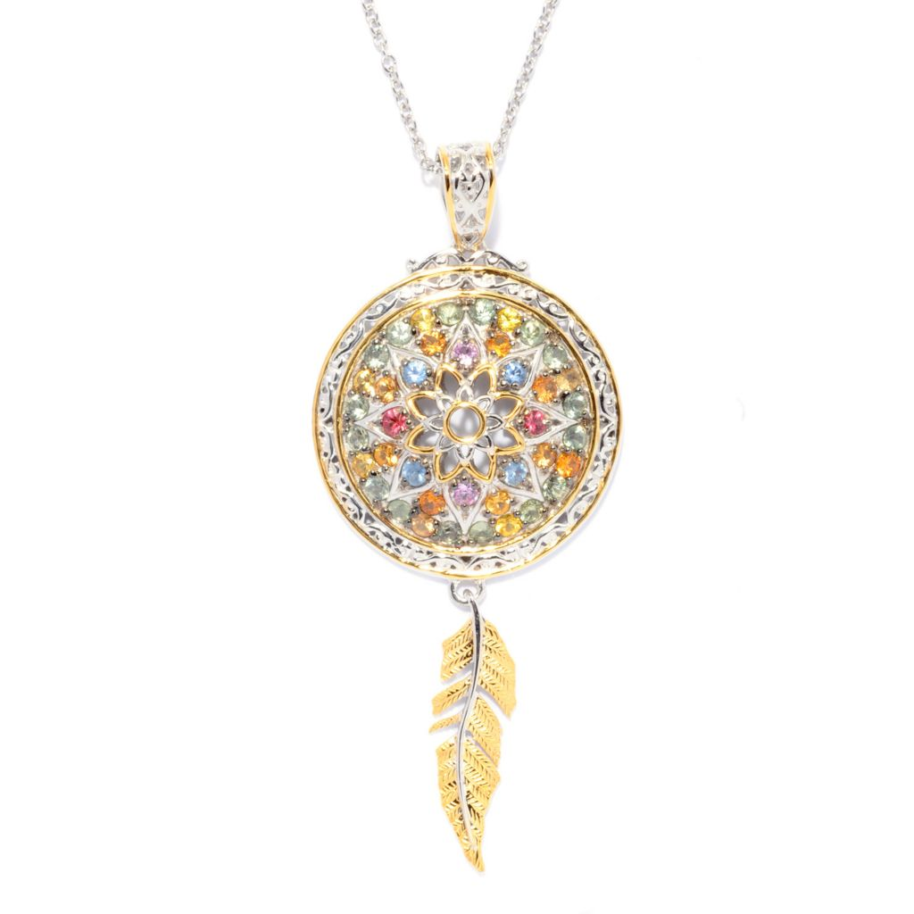 142-751 - Gems en Vogue 3.20ctw Multi Color Sapphire Dream Catcher Pendant w/ Chain