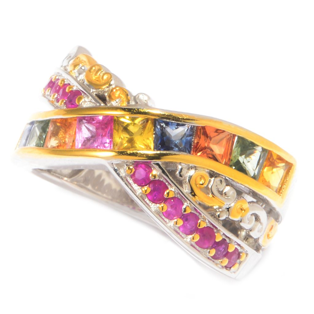 142-752 - Gems en Vogue 2.00ctw Square Multi Sapphire & Ruby Crossover Band Ring