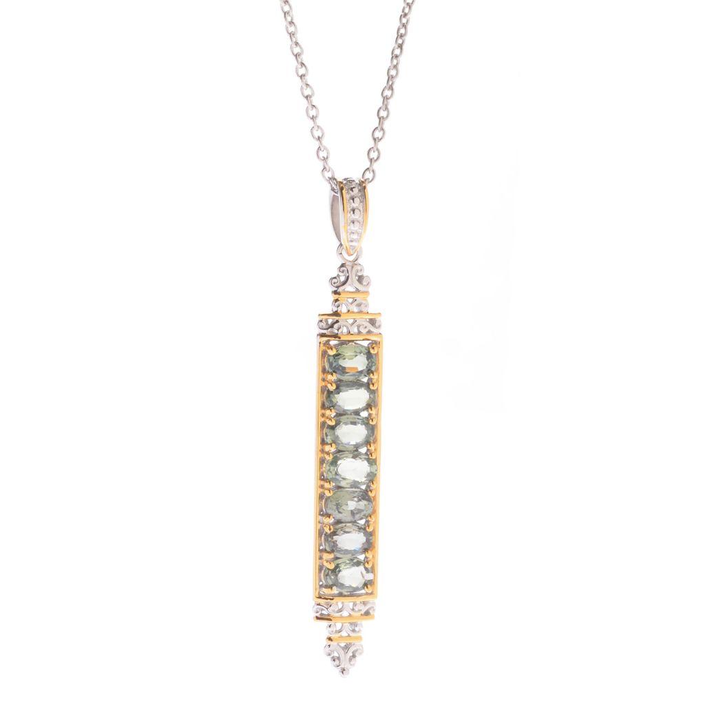 """142-755 - Gems en Vogue 3.85ctw Fancy Color Sapphire Elongated Pendant w/ 18"""" Chain"""