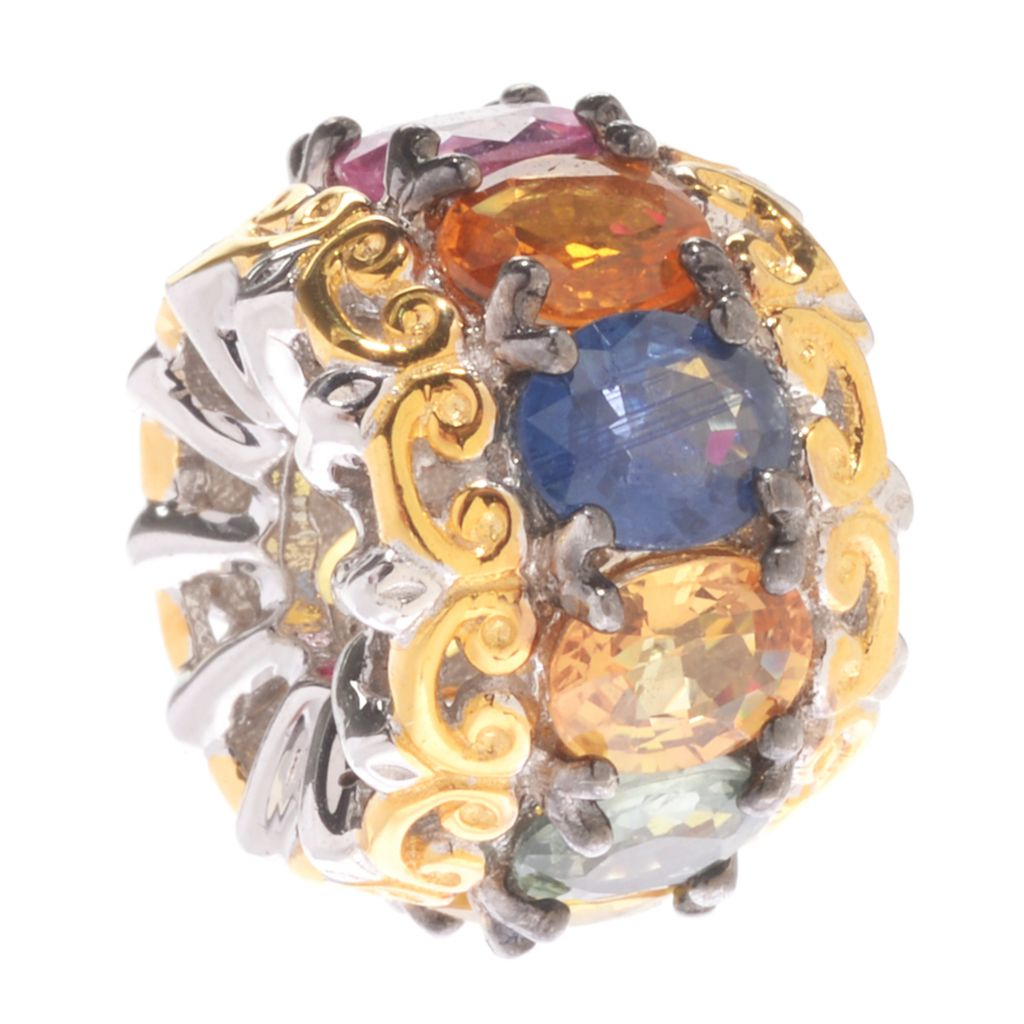 142-756 - Gem en Vogue 4.18ctw Multi Color Sapphire Slide-on Charm