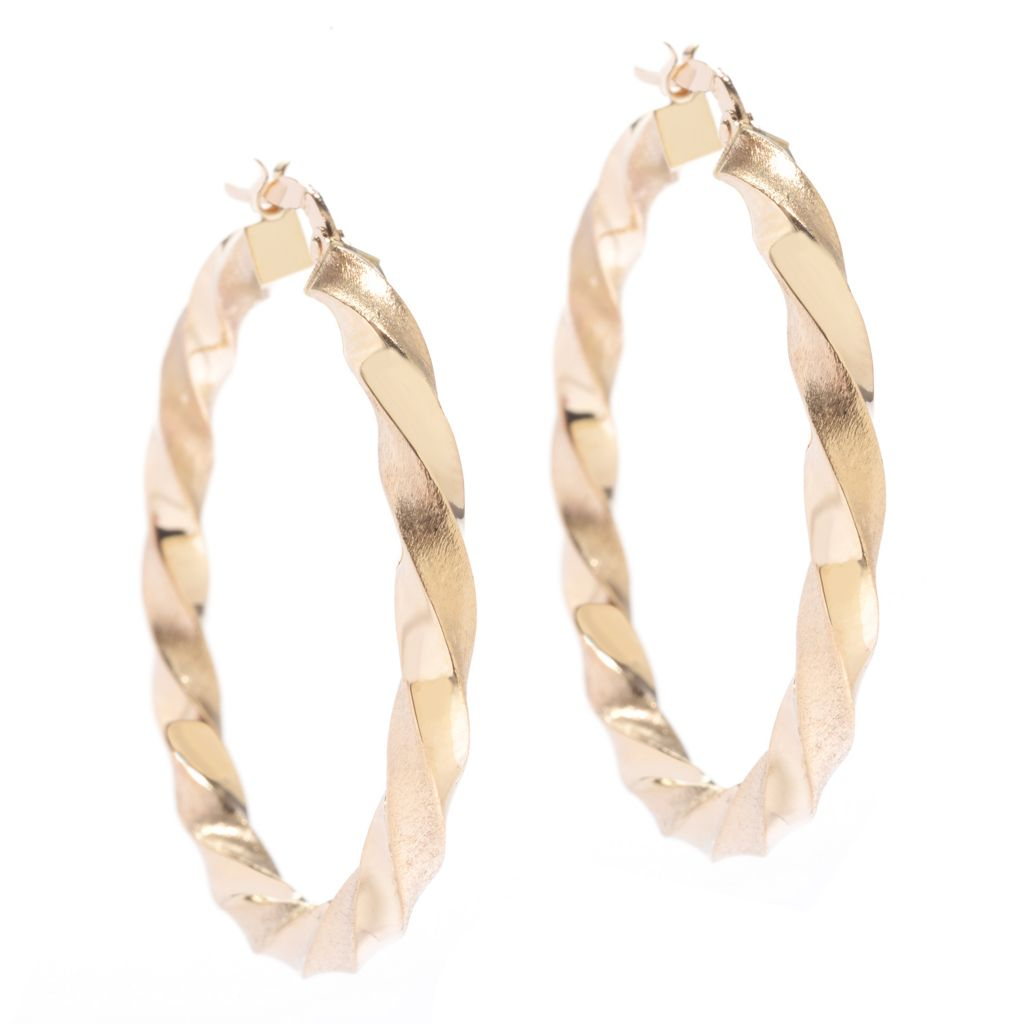 "142-757 - Italian Designs with Stefano 14K Gold 1.5"" Multi Textured Hoop Earrings"