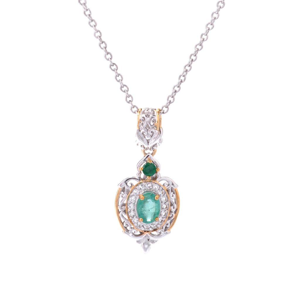 142-763 - Gems en Vogue 1.27ctw Zambian Emerald & White Topaz Pendant w/ Chain