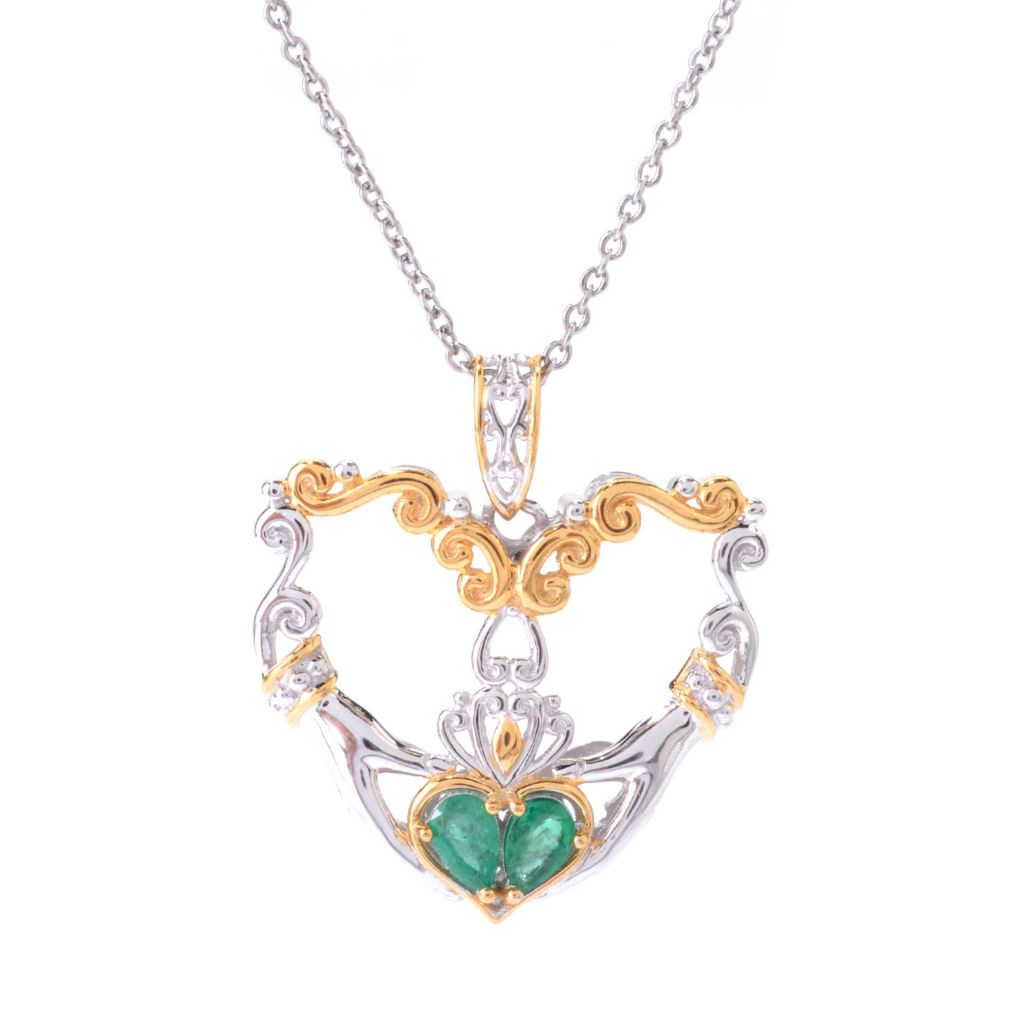 "142-764 - Gems en Vogue Zambian Emerald Irish Claddagh Heart Pendant w/ 18"" Chain"