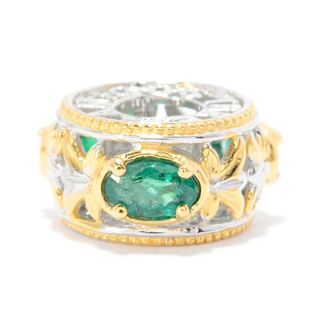 "142-766 - Gems en Vogue Oval Emerald Three-Stone ""Three Amigos"" Slide-on Charm"