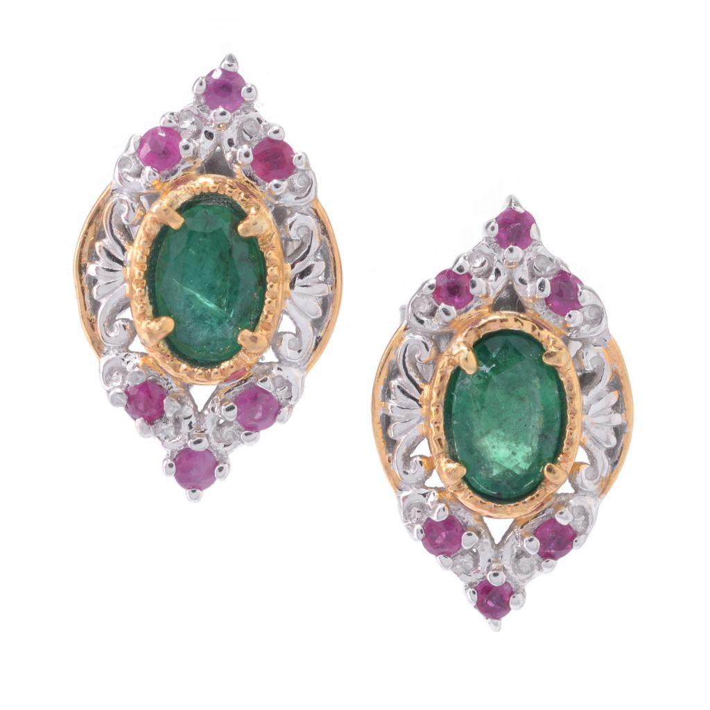 142-767 - Gems en Vogue 6 x 4mm Oval Gemstone & Round Ruby Stud Earrings