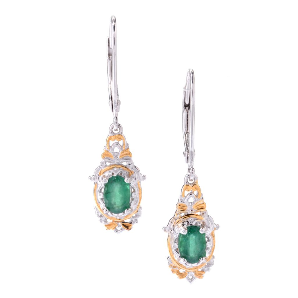 "142-768 - Gems en Vogue 1.25"" 6 x 4mm Oval Emerald Drop Earrings"