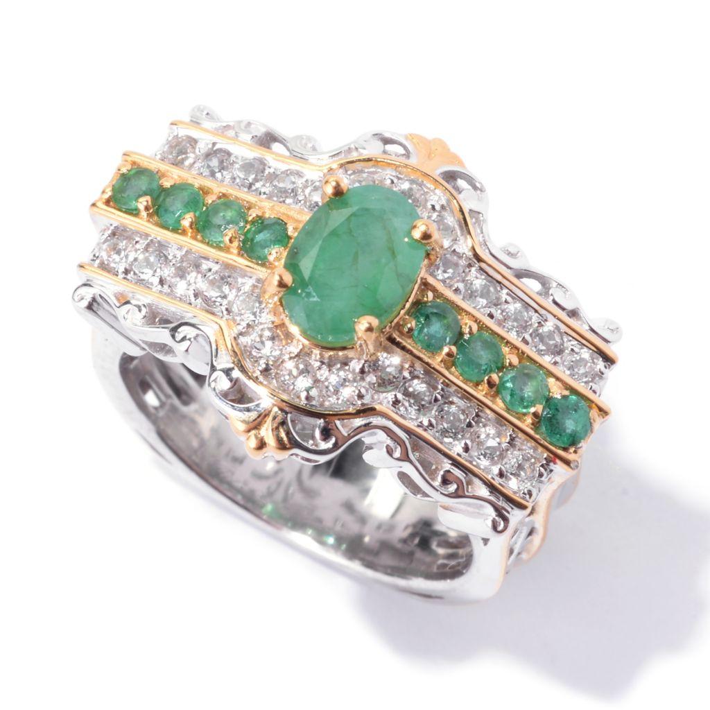 142-772 - Gems en Vogue 1.61ctw Oval & Round Emerald & White Topaz East-West Ring