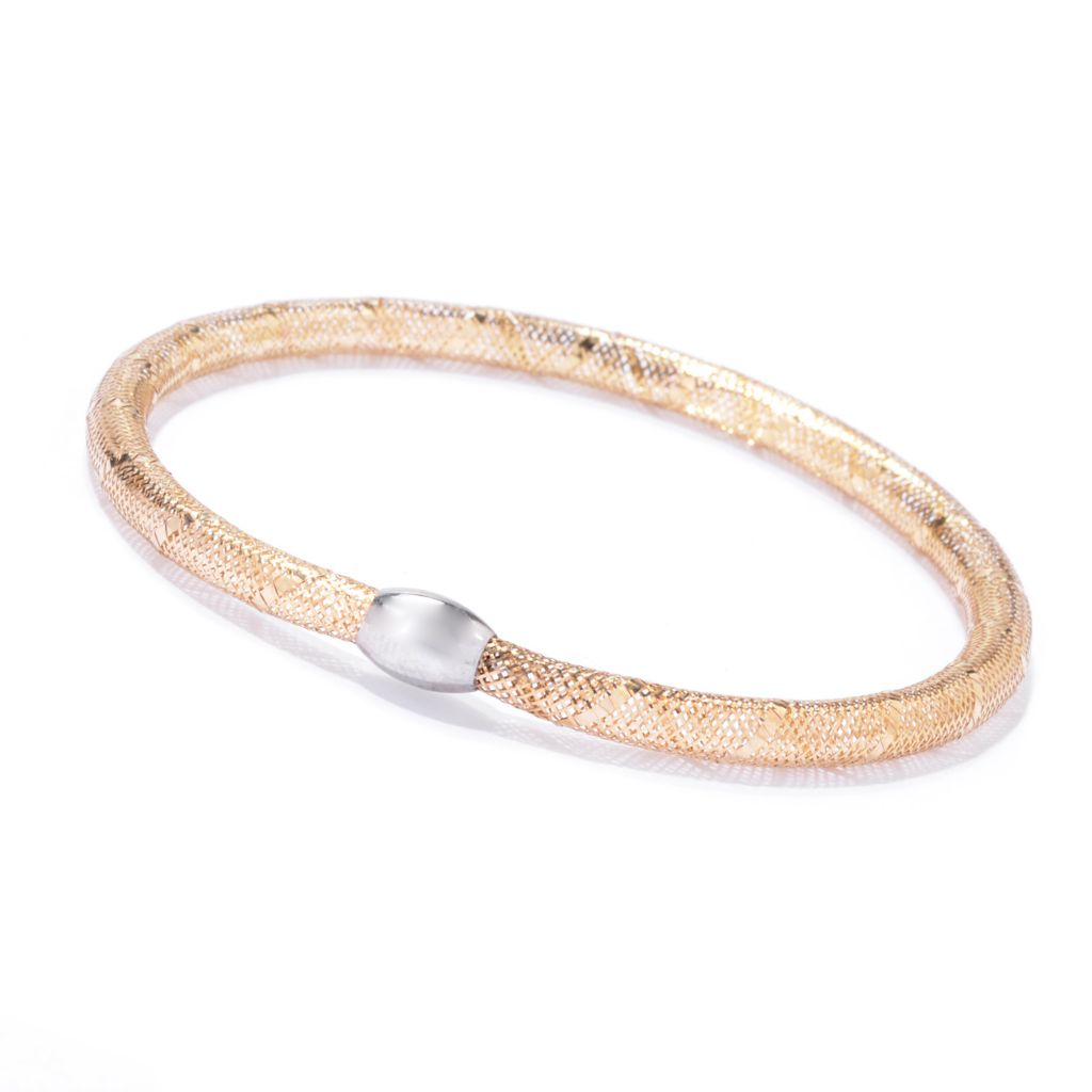 "142-784 - 14K Two-tone Gold 7"" Mesh Stretch Bracelet"