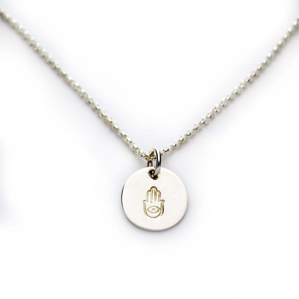 "142-828 - Thought Blossoms Sterling Silver 18"" Hamsa Disk Necklace"