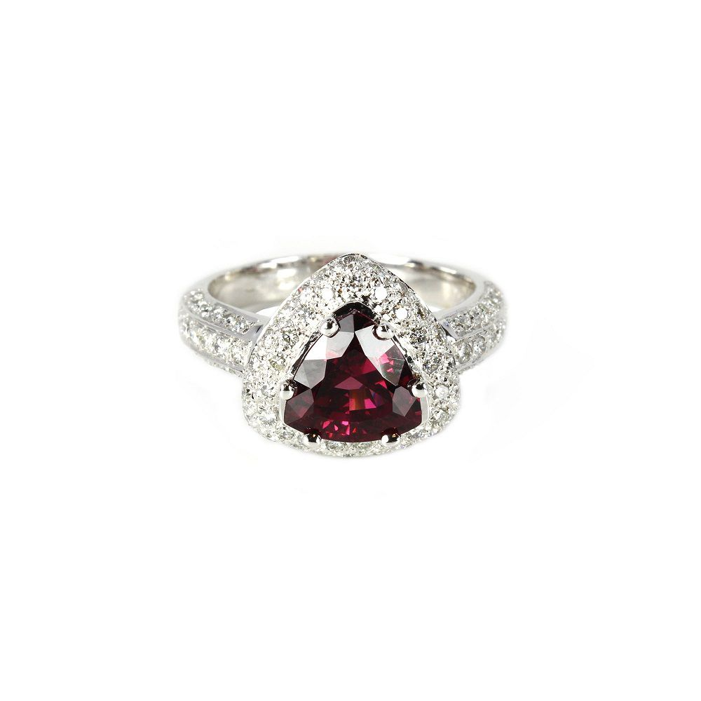 142-839 - Sonia Bitton Galerie de Bijoux 18K White Gold 3.63ctw Rhodolite & Diamond Ring