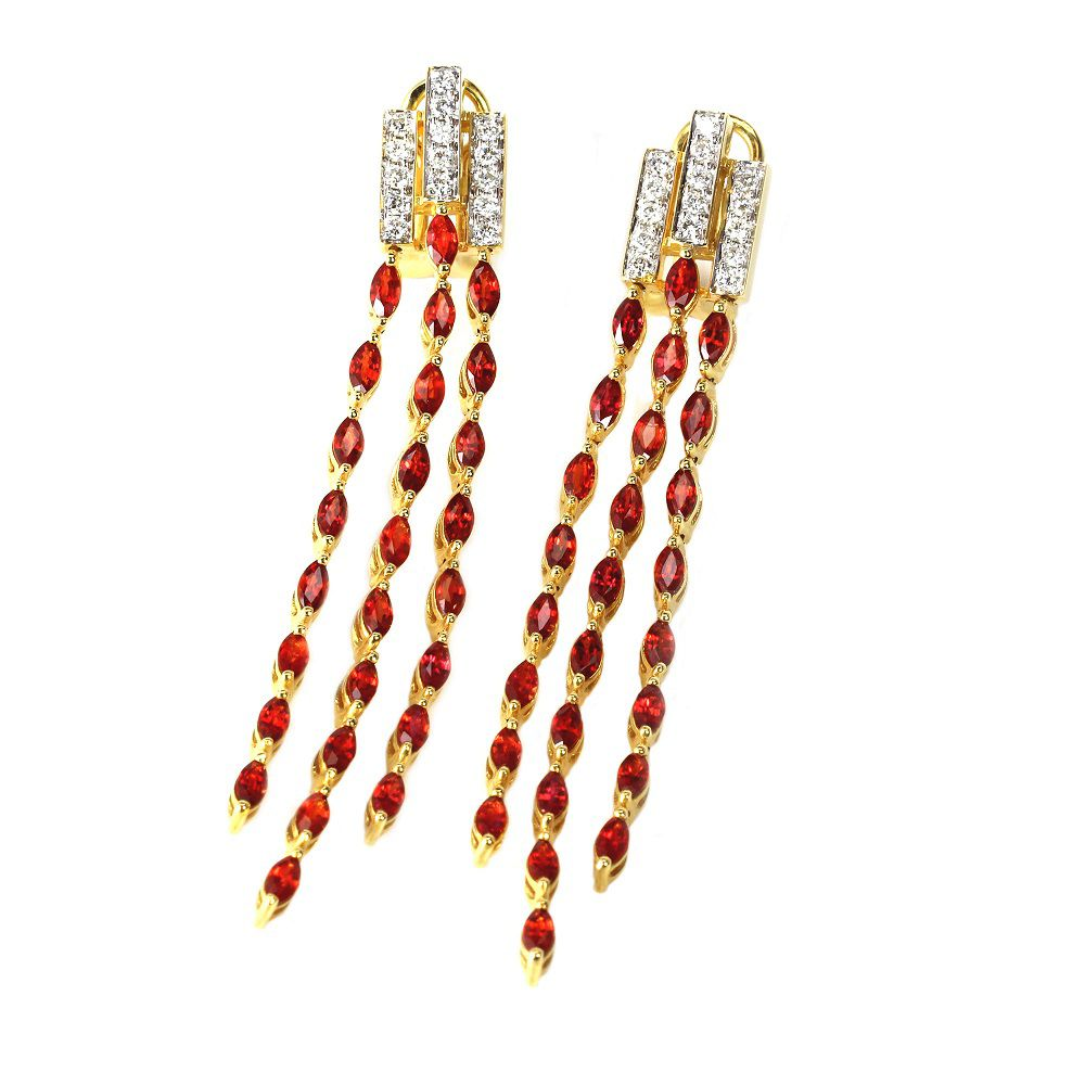 "142-841 - Sonia Bitton Galerie de Bijoux 18K Gold 2.5"" 5.16ctw Orange Sapphire & Diamond Earrings"