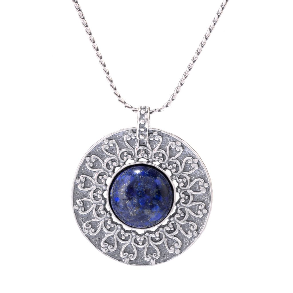 "142-895 - Passage to Israel Sterling Silver 18mm Gemstone Medallion Pendant w/ 18"" Chain"
