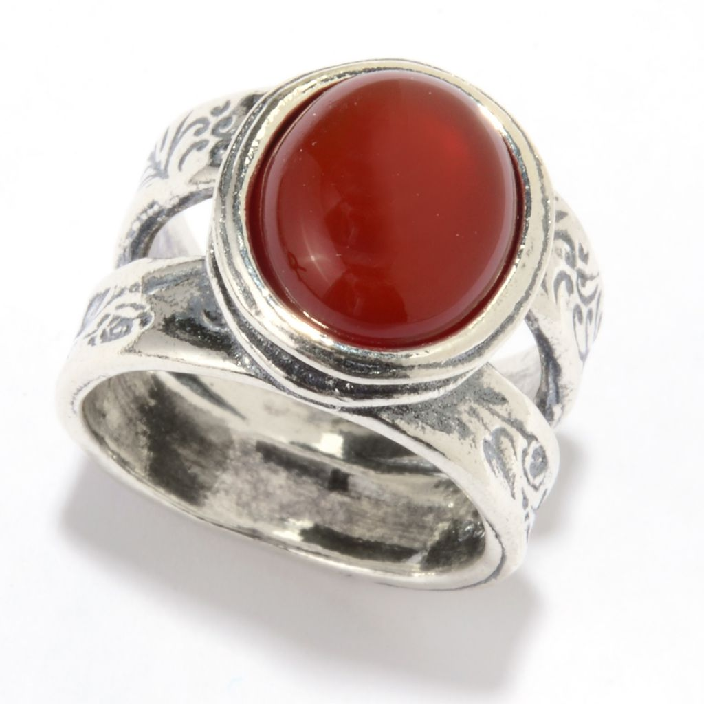 142-899 - Passage to Israel Sterling Silver 12 x 10mm Oval Gemstone Double Band Ring